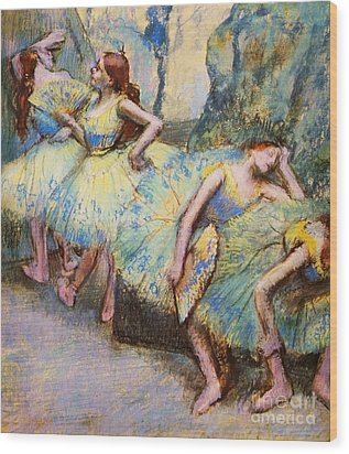 Ballet Dancers In The Wings Wood Print by Pg Reproductions
