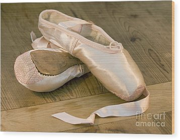 Ballet Shoes Wood Print by Jane Rix