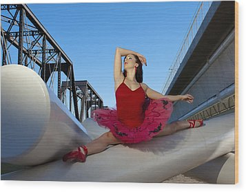 Ballet Splits Wood Print by Michael Yeager