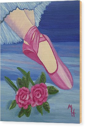 Ballet Toe Shoes For Madison Wood Print