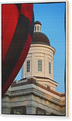 Wood Print featuring the photograph Balloon And Dome Of The Canton Courthouse by Jim Albritton