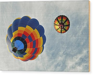 Wood Print featuring the photograph Balloons On The Rise by Rick Frost