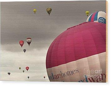 Baloons Wood Print by Angel  Tarantella