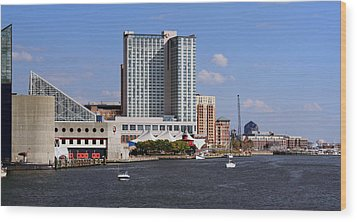 Baltimore Harbor Wood Print by Karen Harrison