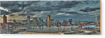 Wood Print featuring the photograph Baltimore Inner Harbor Pano by Mark Dodd