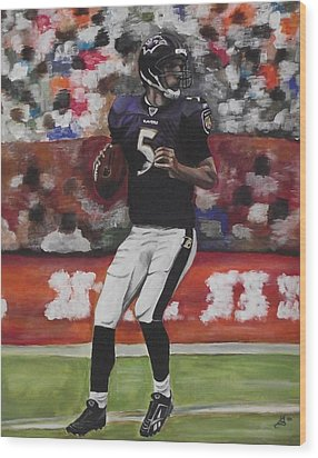 Baltimore Ravens Joe Flacco Wood Print by Kim Selig