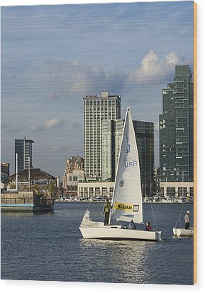 Baltimore Sail Boat - Maryland Wood Print by Brendan Reals