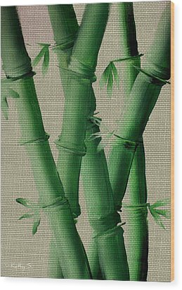 Wood Print featuring the painting Bamboo Cloth by Kathy Sheeran