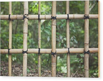 Bamboo Fence Detail Meiji Jingu Shrine Wood Print by Bryan Mullennix