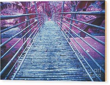 Bamboo Foot Bridge Wood Print by Will and Deni McIntyre