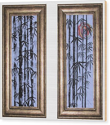 Wood Print featuring the painting Bamboo Forest - Dyptech by Alethea McKee