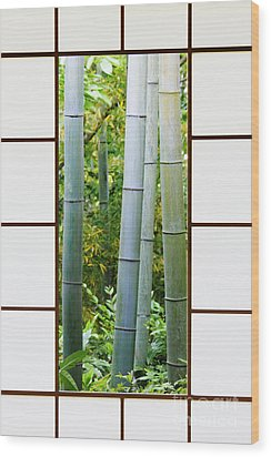 Bamboo Forest Through A Rice Paper Window Wood Print by Jeremy Woodhouse