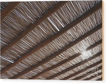 Bamboo Roof Wood Print by Jeremy Woodhouse