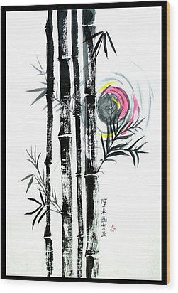 Wood Print featuring the painting Bamboo Sunset by Alethea McKee