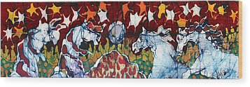 Band Of Horses Wood Print by Carol Law Conklin