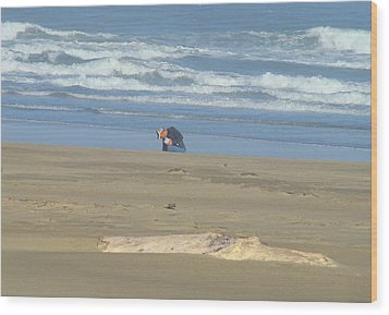 Bandon Oregon Beach Comber Prints Ocean Coastal Wood Print by Baslee Troutman