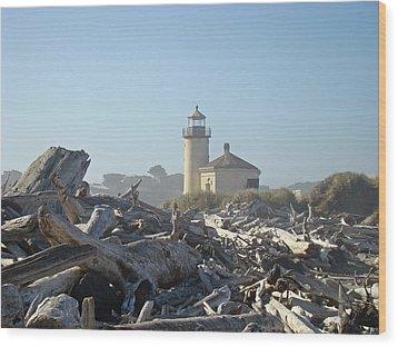 Bandon Oregon Lighthouse Art Prints Driftwood Wood Print by Baslee Troutman