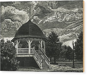 Bandstand On The Commons Wood Print by Robert Goudreau