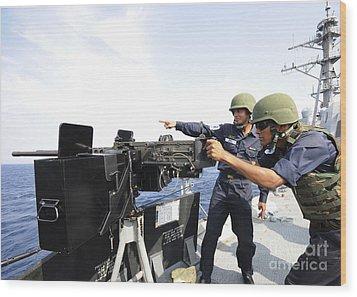 Bangladesh Navy Sailors Fire Wood Print by Stocktrek Images