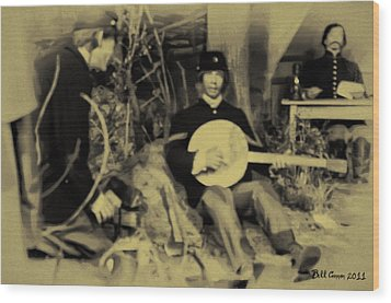 Banjo Playing Union Soldier Wood Print by Bill Cannon