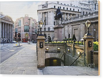 Bank Station Entrance In London Wood Print by Elena Elisseeva