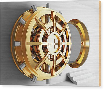 Bank Vault Door 3d Wood Print by Gualtiero Boffi