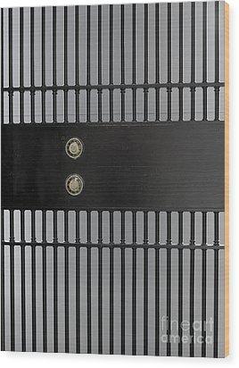Bank Vault Gate Wood Print by Adam Crowley