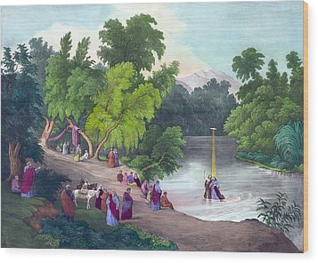 Baptism Of Jesus Christ In The River Wood Print by Everett