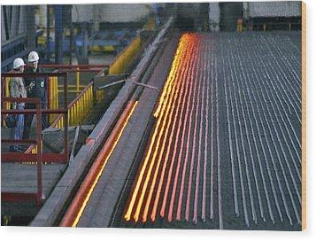Bar-rolling Mill Processing Molten Metal Wood Print by Ria Novosti