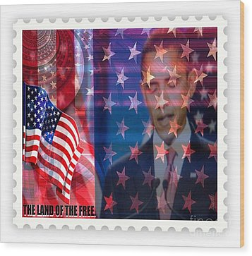 Barack A Stamp Wood Print by Fania Simon