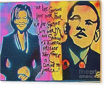 Barack And Michelle Wood Print by Tony B Conscious