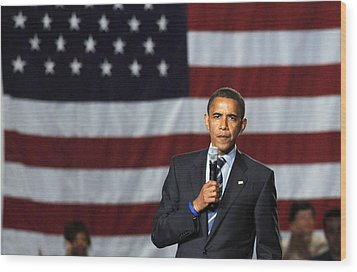 Barack Obama At A Public Appearance Wood Print by Everett
