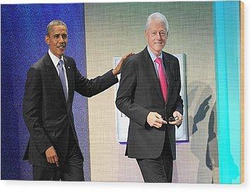 Barack Obama, Bill Clinton At A Public Wood Print by Everett