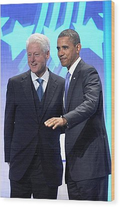 Barack Obama, Bill Clinton Wood Print by Everett