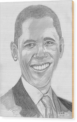 Barack Obama Wood Print by Tibi K