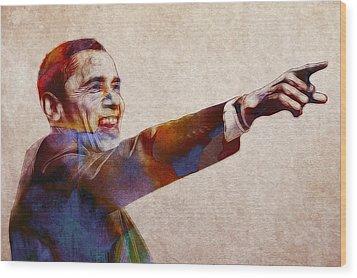 Barack Obama Watercolor Wood Print by Steve K