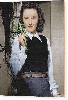 Barbara Stanwyck, Ca. 1947 Wood Print by Everett
