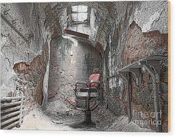 Barber - Chair - Eastern State Penitentiary Wood Print by Paul Ward
