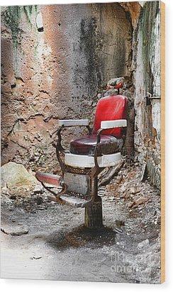 Barber Chair Wood Print by Paul Ward