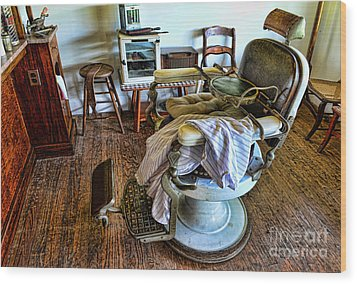 Barber Chair With Child Booster Seat Wood Print by Paul Ward