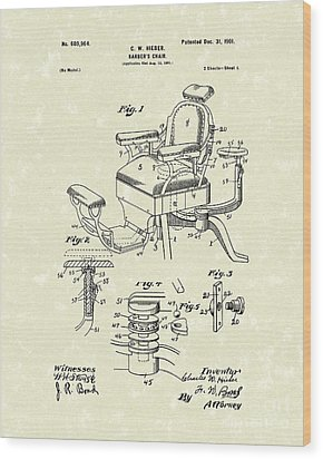 Barber's Chair 1901 Patent Art Wood Print by Prior Art Design