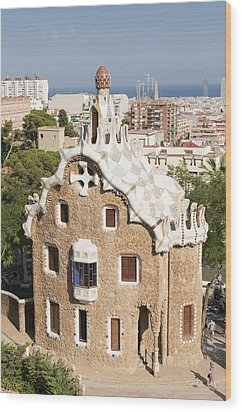 Barcelona Parc Guell Wood Print by Matthias Hauser