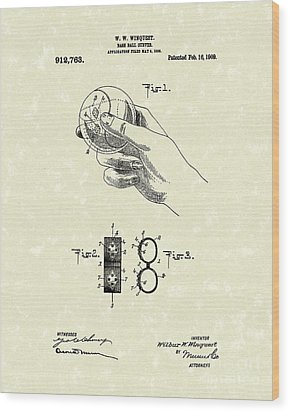 Bare Ball Curver 1909 Patent Art Wood Print by Prior Art Design