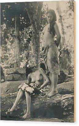 Bare-breasted Marquesas Islands Girls Wood Print by J.W. Church