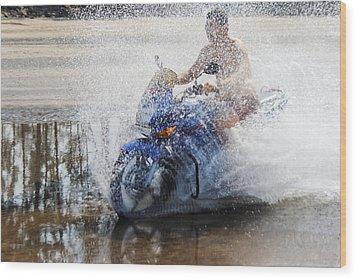 Bare Chest Rider Splash Wood Print by Kantilal Patel