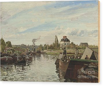 Barge On The Seine At Bougival Wood Print by Camille Pissarro