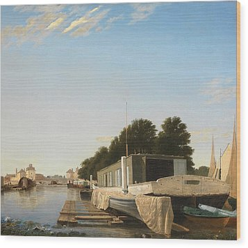 Barges At A Mooring Wood Print by Unknown