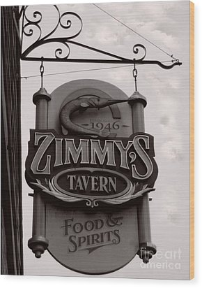 Wood Print featuring the photograph Barhopping At Zimmys 1 by Lee Craig