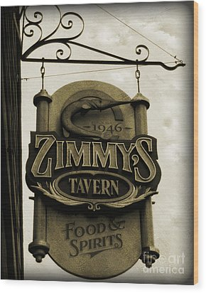 Wood Print featuring the photograph Barhopping At Zimmys 2 by Lee Craig