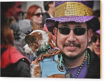 Wood Print featuring the photograph Barkus Mardi Gras Parade by Jim Albritton